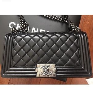 Authentic Chanel Le Boy Black